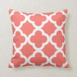 Trendy Clover Pattern Live Coral Cushion