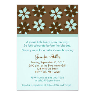 Trendy Cocoa Flower Baby Shower Invitations
