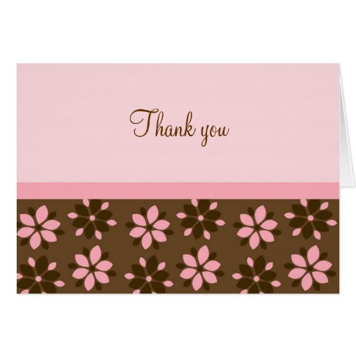 Trendy Cocoa Pink Flower Thank You Note Cards