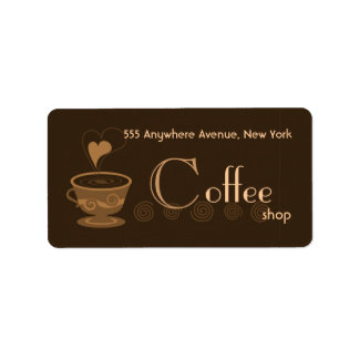 Trendy Coffeeshop Address Label