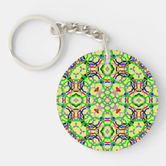 Trendy colorful decorative pattern Double-Sided round acrylic keychain