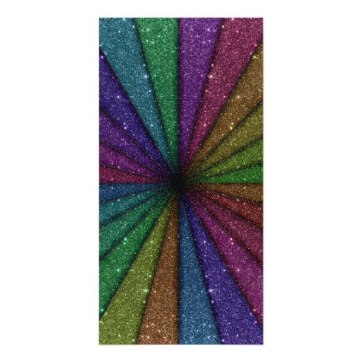 Trendy Colorful Glitter Explosion Photo Card Template
