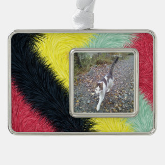 Trendy colorful pattern silver plated framed ornament