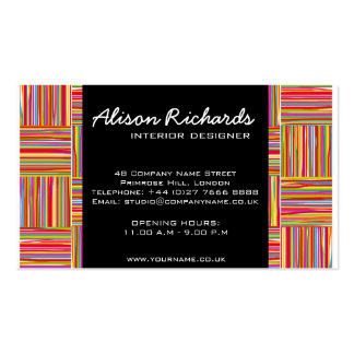 Trendy Colorful Rainbow crosshatch interior design Double-Sided Standard Business Cards (Pack Of 100)