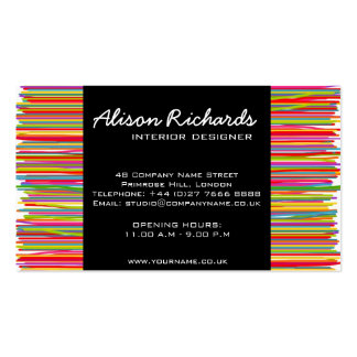 Trendy Colorful rainbow stripes interior design Double-Sided Standard Business Cards (Pack Of 100)