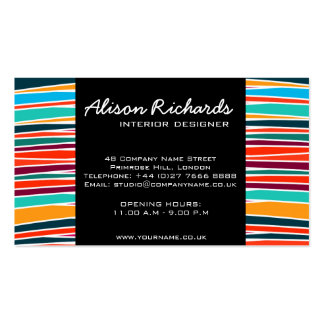 Trendy Colorful rainbow waves interior design Double-Sided Standard Business Cards (Pack Of 100)