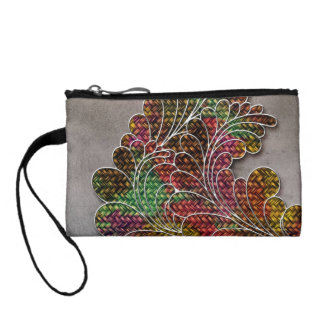 Trendy Colorful Swirly Floral Coin Purse