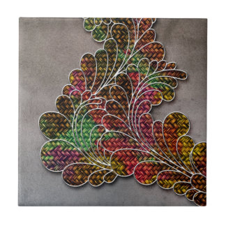 Trendy Colorful Swirly Floral Small Square Tile