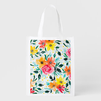 Trendy Colorful Watercolor Floral Pattern Reusable Grocery Bag