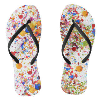 Trendy colourful art  Adult, Slim Straps Flip Flops