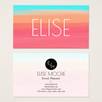 trendy colourful business card