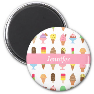 Trendy Colourful Ice Cream Desserts For Summer 6 Cm Round Magnet