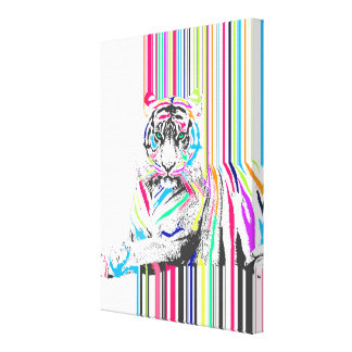 trendy colourful vibrant neon stripes tiger pain canvas print