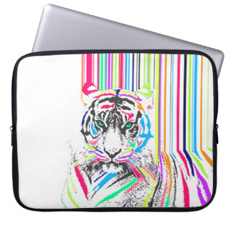 trendy colourful vibrant neon stripes tiger pain laptop sleeve