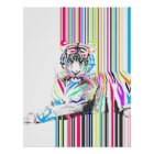 trendy colourful vibrant neon stripes tiger pain poster