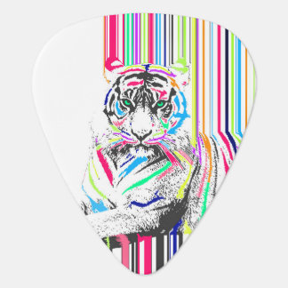 trendy colourful vibrant neon stripes tiger paint guitar pick