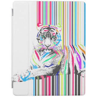 trendy colourful vibrant neon stripes tiger paint iPad cover