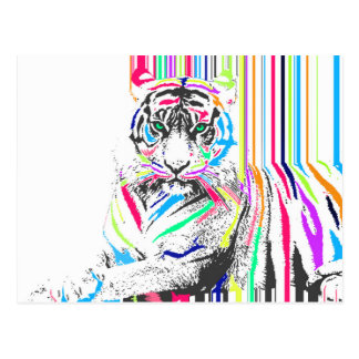 trendy colourful vibrant neon stripes tiger paint postcard
