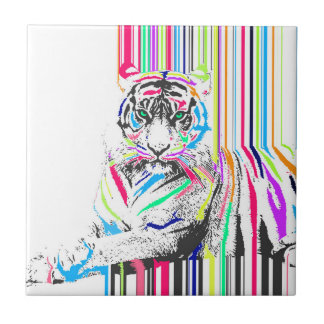 trendy colourful vibrant neon stripes tiger paint small square tile