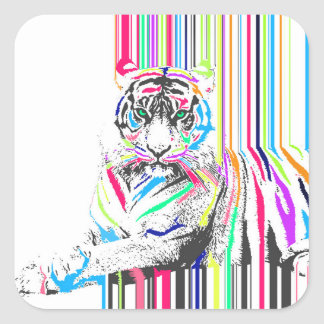 trendy colourful vibrant neon stripes tiger paint square sticker