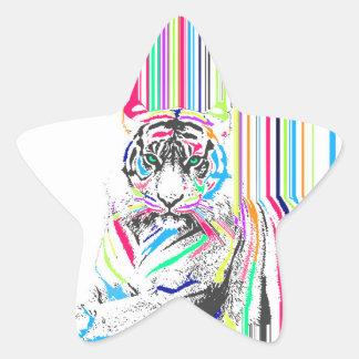 trendy colourful vibrant neon stripes tiger paint star sticker