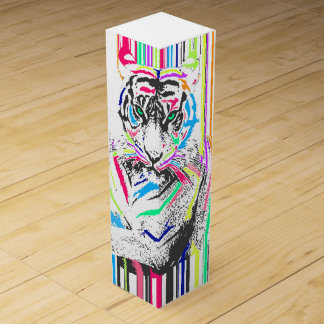 trendy colourful vibrant neon stripes tiger paint wine box