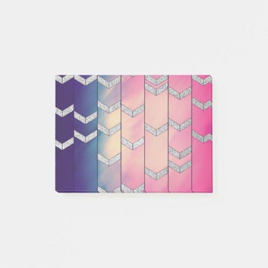 Trendy Colourful Watercolor Arrow Zig Zag Glitter Post-it®