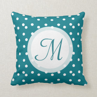 Trendy Confetti Dots Monogrammed Bluish Green Throw Pillow