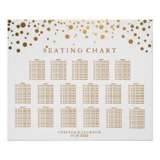 Trendy Confetti Gold Dots - Seating Chart