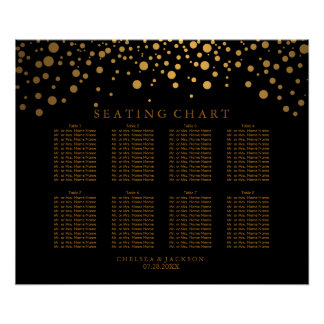 Trendy Confetti Golden Dots on Black Seating Chart Poster