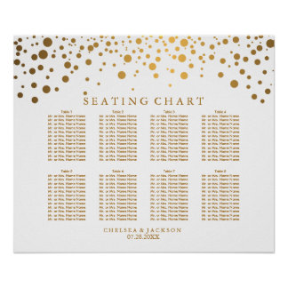 Trendy Confetti Golden Dots - Seating Chart