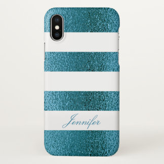 Trendy COOL BLUE GLITTER Striped personalized iPhone X Case