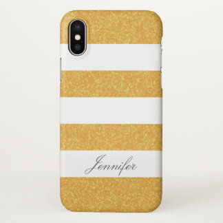 Trendy COOL FAUX GOLD GLITTER Striped personalized iPhone X Case