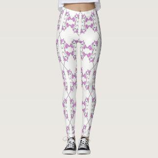 Trendy Cool Pink Unicorns on White Custom Leggings