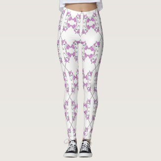 Trendy Cool Pink Unicorns on White Custom Leggings