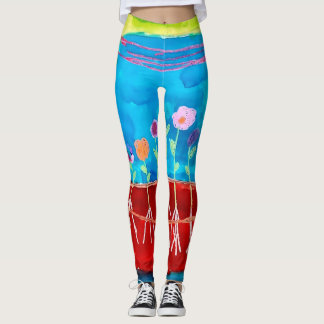 Trendy Cool Watercolor Flowers Scenery Leggings
