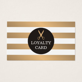 Trendy Copper Striped Grey Hair Salon Loyalty Card