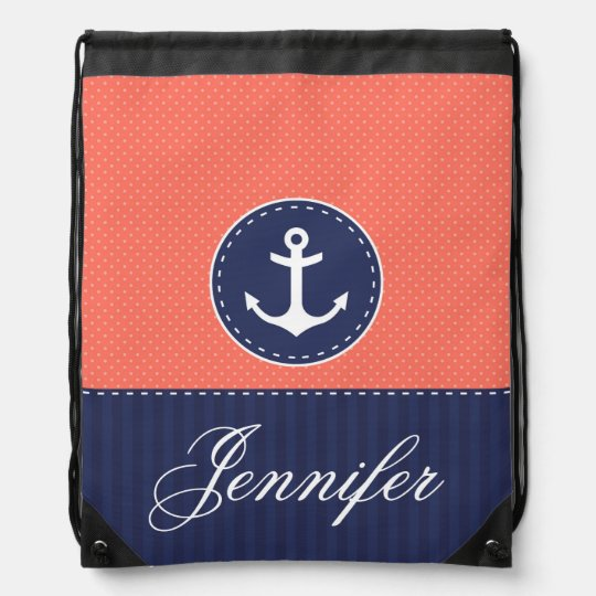 Trendy Coral and Navy Blue Anchor Personalised Drawstring Bag