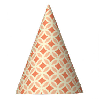 Trendy Coral Moroccan Circle Pattern Party Hats