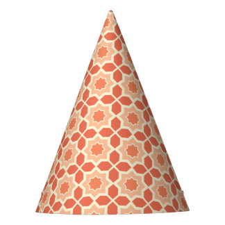 Trendy Coral Moroccan Pattern Party Hat