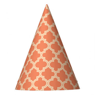 Trendy Coral Moroccan Quatrefoil Pattern Party Hat