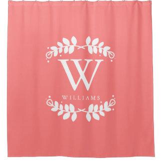 Trendy Coral Pink Monogram Shower Curtain