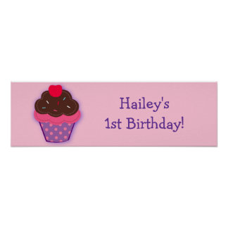 Trendy Cupcake Cherry Birthday Banner Sign Poster