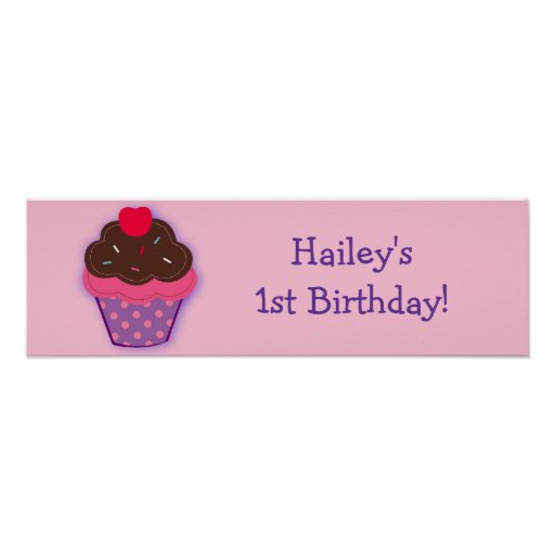 Trendy Cupcake Cherry Birthday Banner Sign Posters