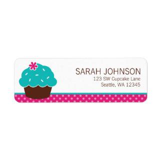 Trendy Cupcake Pink Polka Dot Return Address Label