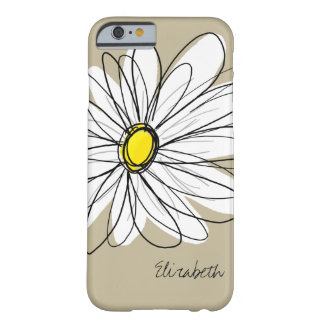 Trendy Custom Floral Daisy - gray, yellow, linen Barely There iPhone 6 Case