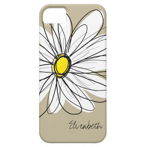 Trendy Custom Floral Daisy - gray, yellow, linen iPhone 5 Cover