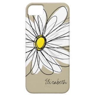 Trendy Custom Floral Daisy - grey, yellow, linen iPhone 5 Cases