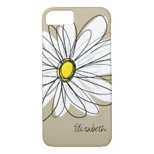 Trendy Custom Floral Daisy - grey, yellow, linen iPhone 8/7 Case