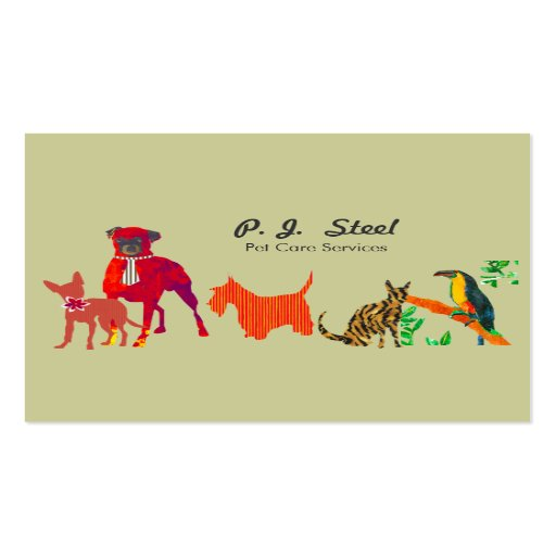Create your own animal trainer business cards trendy cute animal pet care business card reheart Image collections